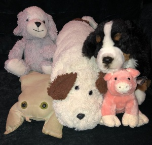 (Clockwise, from bottom left): Froggy, Odie, Doggie, Bernie, and Little Piggy. Photo by Karen Salkin.