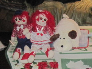 (L-R) Raggedy Andy, Raggedy Ann, and Doggie,  all gifts from Karen Salkin to her mother, to further her fun collection of buddies. Photo by Karen Salkin.