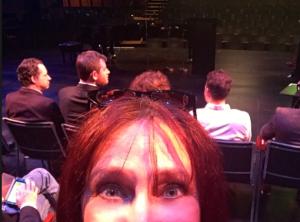 Karen Salkin on stage at The Wallis!  (The audience is behind her.) Photo by Karen Salkin.
