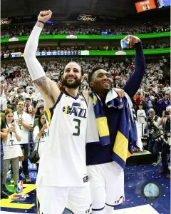 Jazz teammates Ricky Rubio and Donovan Mitchell.