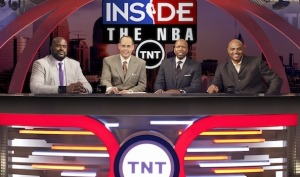 The Inside The NBA guys: Shaq, Ernie, Kenny, and Chuck.