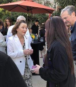 Lesley Manville listening to Karen Salkin's effusive fan-girling. Photo by Mr. X.