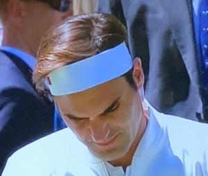 Roger federer's ultry-shiny hair. Photo by Karen Salkin.