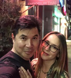 Jennifer Love Hewitt on the right, with John Sungkamee, the owner of Emporium Thai. Perfect selfie by John, right?
