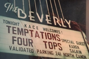 The marquee at the Beverly Theatre.  Photo by Mr. X.  (It's currently housed in a frame whose glass is broken.) One of my biggest regrets is that I did not get any pix of me with the Temptations and Four Tops.  I guess my mind was on my work that week-end, rather than posterity.