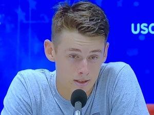 Aussie Next Gen star, Alex de Minaur.  He's nineteen, but doesn't he look to be about twelve???  Photo by Karen Salkin.