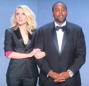 SNL's Kate McKinnon and Kenan Thompson. Photo by Karen Salkin, as is the big one of the massive Emmys arrivals at the top of this page.
