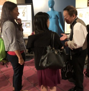 James Chiao on the left, greeting his fans before the show.  Photo by Karen Salkin.