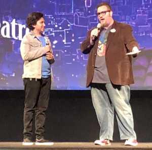 Anthony Gonzalez, on the left, being interviewed.  Photo by Karen Salkin.