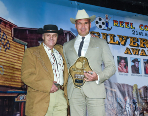 Billy Zane on the left with his award from Reel Cowboys President Robert Lanthier. Photo by William Kidston.