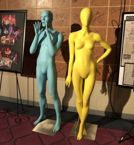 How brave am I to have stood this close to these mannequins in the lobby?  Good thing they're colorful! Photo by Karen Salkin.