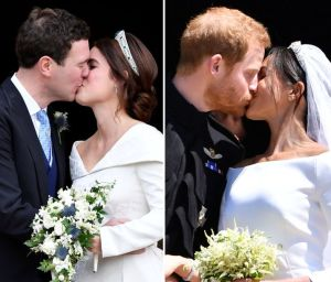 (L-R) Jack, Eugenie, Harry, Meghan.  Eugenie's BOUQUET is even better!!!