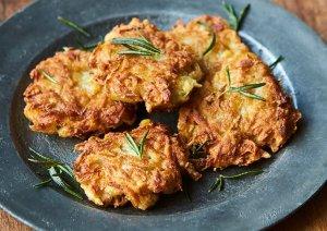 Gorgeous potato latkes.
