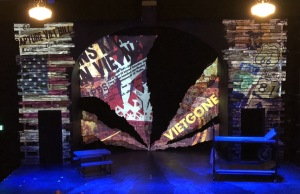 The set, with impressive projections. Photo by Karen Salkin.