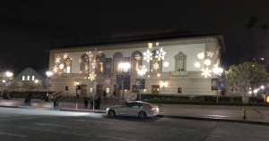 The exterior of the Pasadena Civic at holiday time. Photo by Karen Salkin.