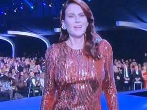 "Megan Mullally and her sagging, lopsided breasts. Maybe she was just reminding us that we were, indeed, watching the ""SAG"" awards! Photo by Karen Salkin."