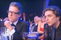 This pic is apropos of nothing.  I just thought it's really interesting to see the old guard, Hugh Grant, and new guard, Timothee Chalamet, together, equally puzzling over what someone was saying on stage.  Photo by Karen Salkin.