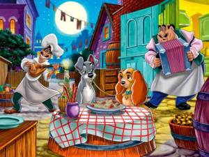 The iconic Italian restaurant scene from Lady and the Tramp.