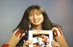 Karen Salkin on her TV show back in the day, getting a kick out of the doctored photo of herself with Alan Vincent. Photo by Karen Salkin.