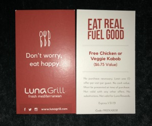 "The front and back of the Luna Grill gift card.  Notice that their motto is ""Don't worry, eat happy,"" because that was the opposite experience for me!!!!  And they certainly did not care! Photo by Karen Salkin."