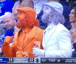 Twin lunatic fans who showed-up in different orange-and-white outfits to many games! Photo by Karen Salkin.