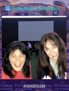 """A """"still"""" of a GIF, featuring Karen Salkin on the left.  (Her friend was moving more!)"""