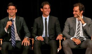 The Big 3 in Men's tennis:  (L-R) Novak Djokovic, Rafael Nadal, and the best one--Roger Federer.