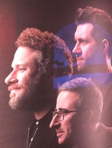 (Clockwise from left) Seth Rogen, Billy Eichner, and John Oliver.  Photo (of the portraits) by Karen Salkin.