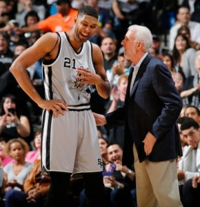 I've actually never seen Tim Duncan laught this much!  But Pop is really, really funny.