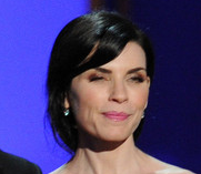 Look at that mess of a hair-do on Julianna Margulies. And the back's even worse! She looks like she just rolled out of bed, while she's sick with the flu. And this is how she showed up to present an award!