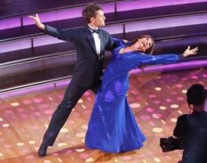 Valerie Harper and Tristan MacManus performing their gorgeous Week One foxtrot.