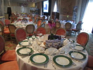 The lovely dining room in which the luncheon took place at the California Club. Photo by Karen Salkin.