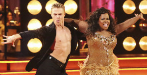 Derek Hough and Amber Riley. Just look at that intensity from both of them!