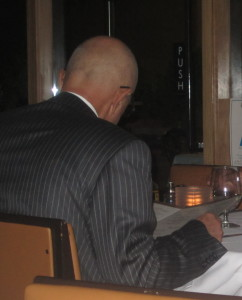 Sorry--the back of Robert Shapiro's bald head was the best I could do on this one! Photo by Karen Salkin.