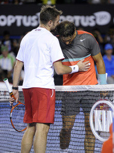 Stan checking on Rafa at the end of the Championship match.