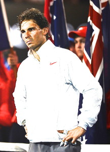 Rafa being a sourpuss at the awards ceremony. Not nice of him.