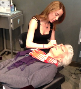 Natalie working on a client's brows at Temptress. Photo by Karen Salkin.