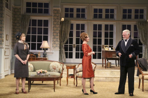 (L to R) Roxanne Hart, Sharon Lawrence, Bruce Davison.  Look at that gorgeous set!  Photo by Michael Lamont.