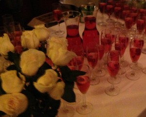 Pink champagne at the after-party, in keeping with the theme of the play. Photo by Karen Salkin.