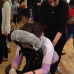 A guest getting a chair massage.  Photo by Sharon Lieberman.