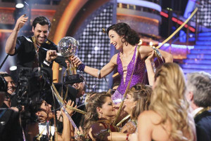 Meryl and Maks, in the throes of the rightful victory.