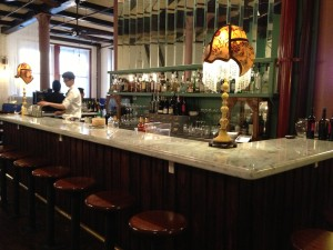 The bar, which is the centerpiece of all the dining areas.  Photo by Karen Salkin.