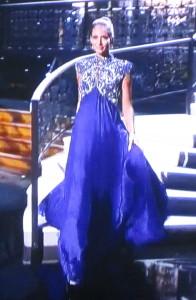 Louisiana's gorgeous gown.  But it has shoulder pads because she has weak shoulders!  Photo by Karen Salkin.