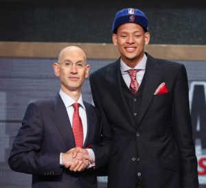 Isaiah Austin ( on the left) with NBA Commissioner Adam Silver.