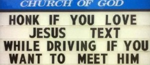 "This is one of the most clever signs I've seen addressing the ""texting while driving"" problem."