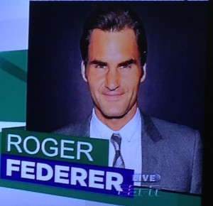 This is the promo photo that ESPN is using of Roger Federer, which is a little odd of them to do, because everyone else is in tennis garb.  But it's the best picture he's ever taken!  My mother would have loved it!