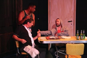 The men of the cast, clockwise from top: Alex Desert, Christopher Amitrano, Shaun Duke.  Photo by Zac Titus.