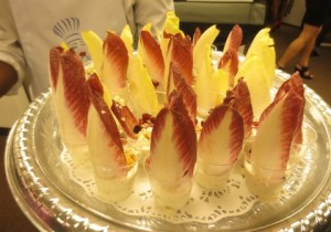 Chef Mumsie's colorful endive blue cheese shooters.  Photo by Flo Selfman.
