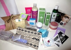 Goodie bag contents!   Photo by Flo Selfman.