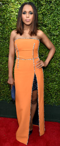 Who wears orange and black when it's not Halloween???  Kerry Washington, apparently. And her make-up is a tad witchy, too. (And who gave her a blue purse?  Fire that stylist!)